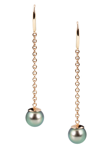tahitian pearl chain earrings in 18K rose gold