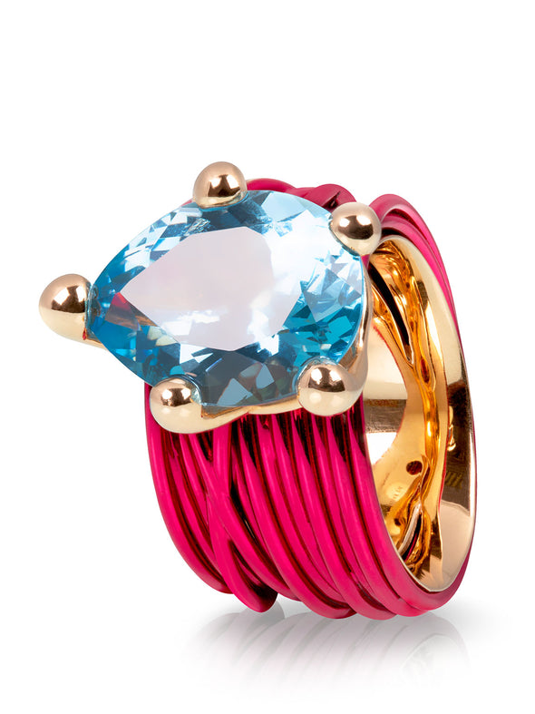 The Wire Ring with London Blue Topaz in Fuchsia