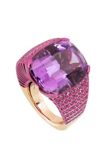 Off center amethyst ring with pink sapphires and 18K rose gold