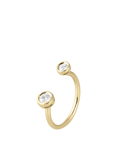 simple wire diamond ring in yellow gold