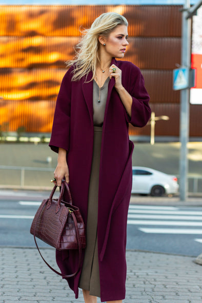 Wool Crepe Oversized Long Coat
