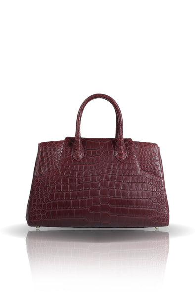 Day Bag in Burgundy Croco Leather