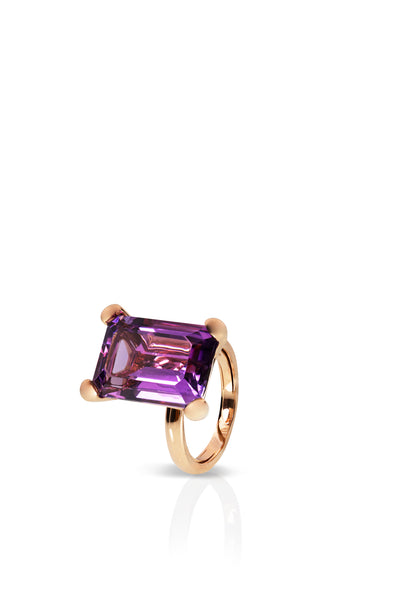 Simple Ring with Rectangular Amethyst