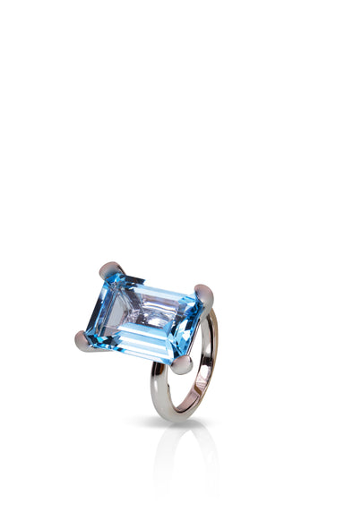 Simple Ring with Rectangular London Blue Topaz