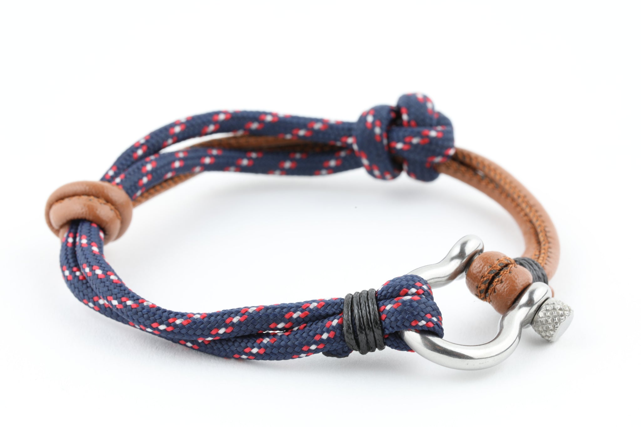 anchor red nautical rope caymancode white and navy with bracelet braided c silver blue
