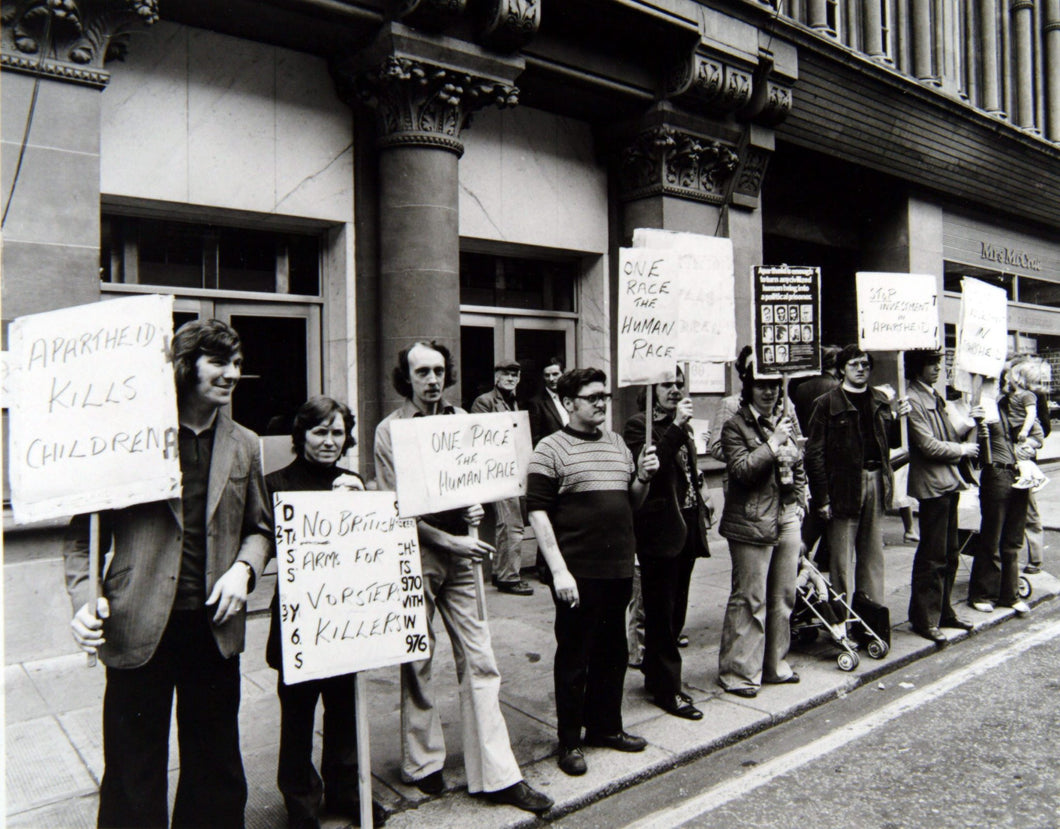 A demonstration organised by the anti-apartheid movement,  Glasgow 1976