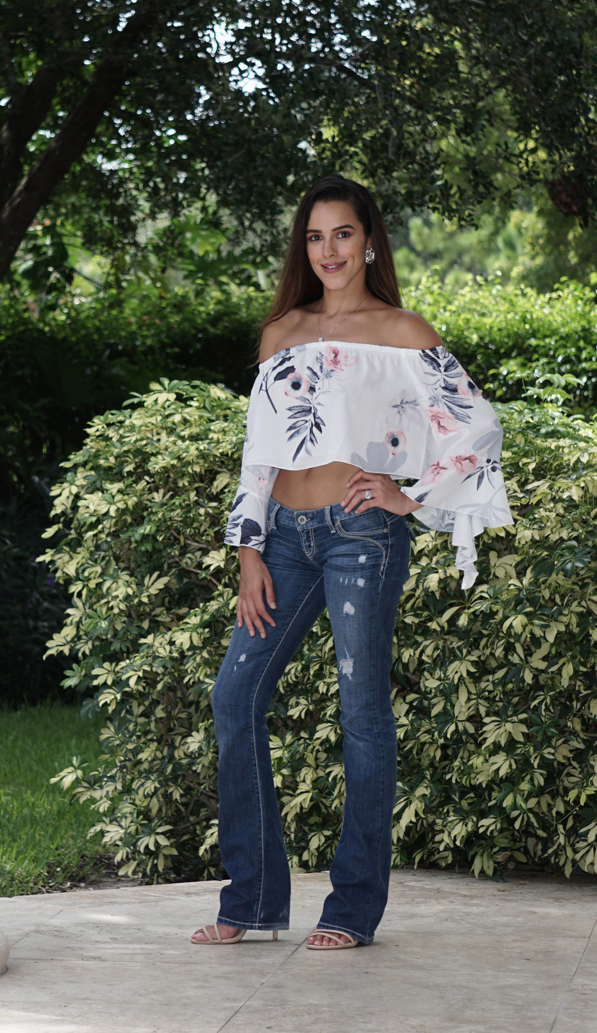 Floral Crop Top with Flare Sleeves