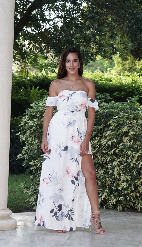 Bardot Floral Maxi Dress with Shorts
