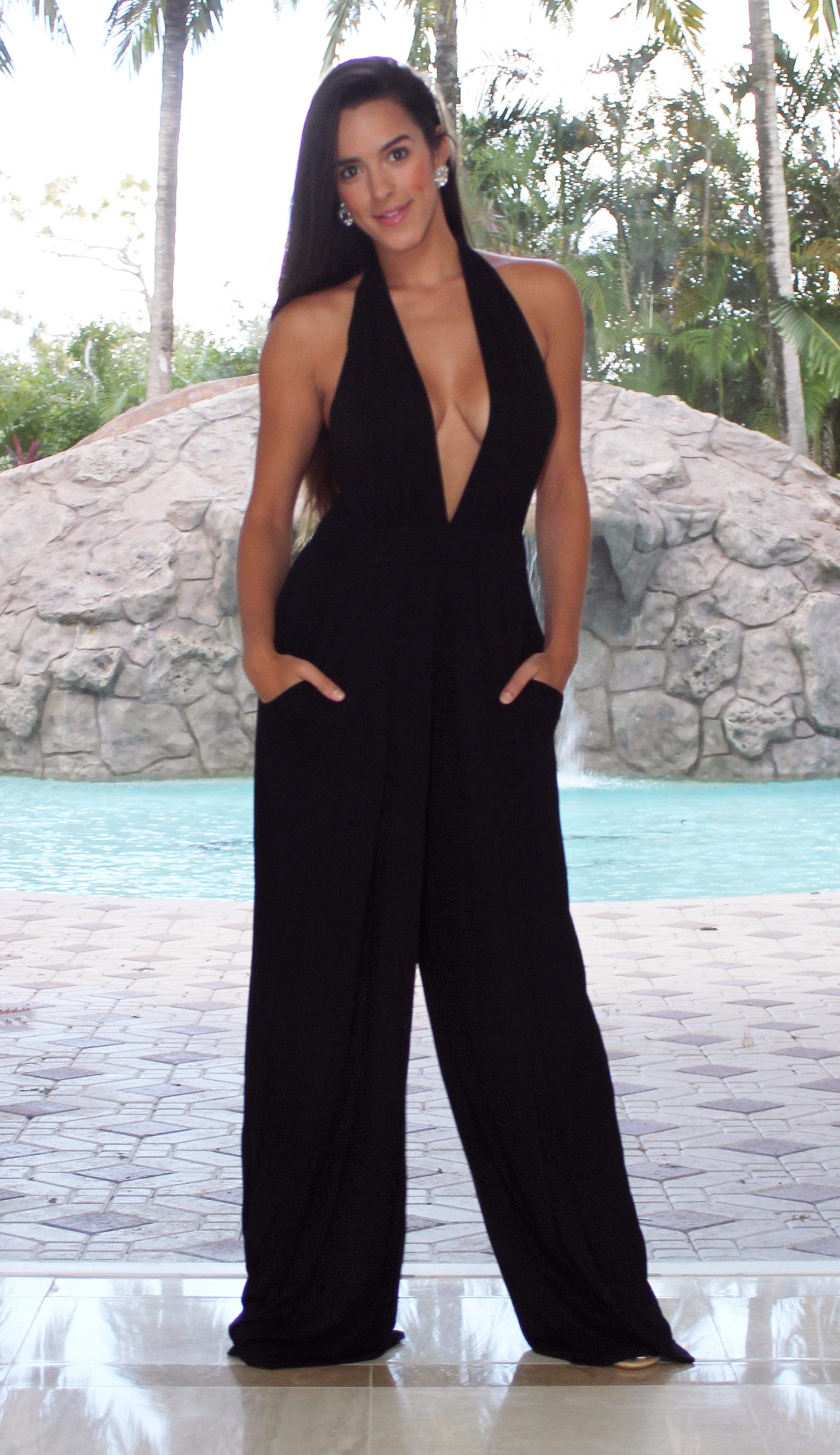 Deep Plunge Jumpsuit - Black