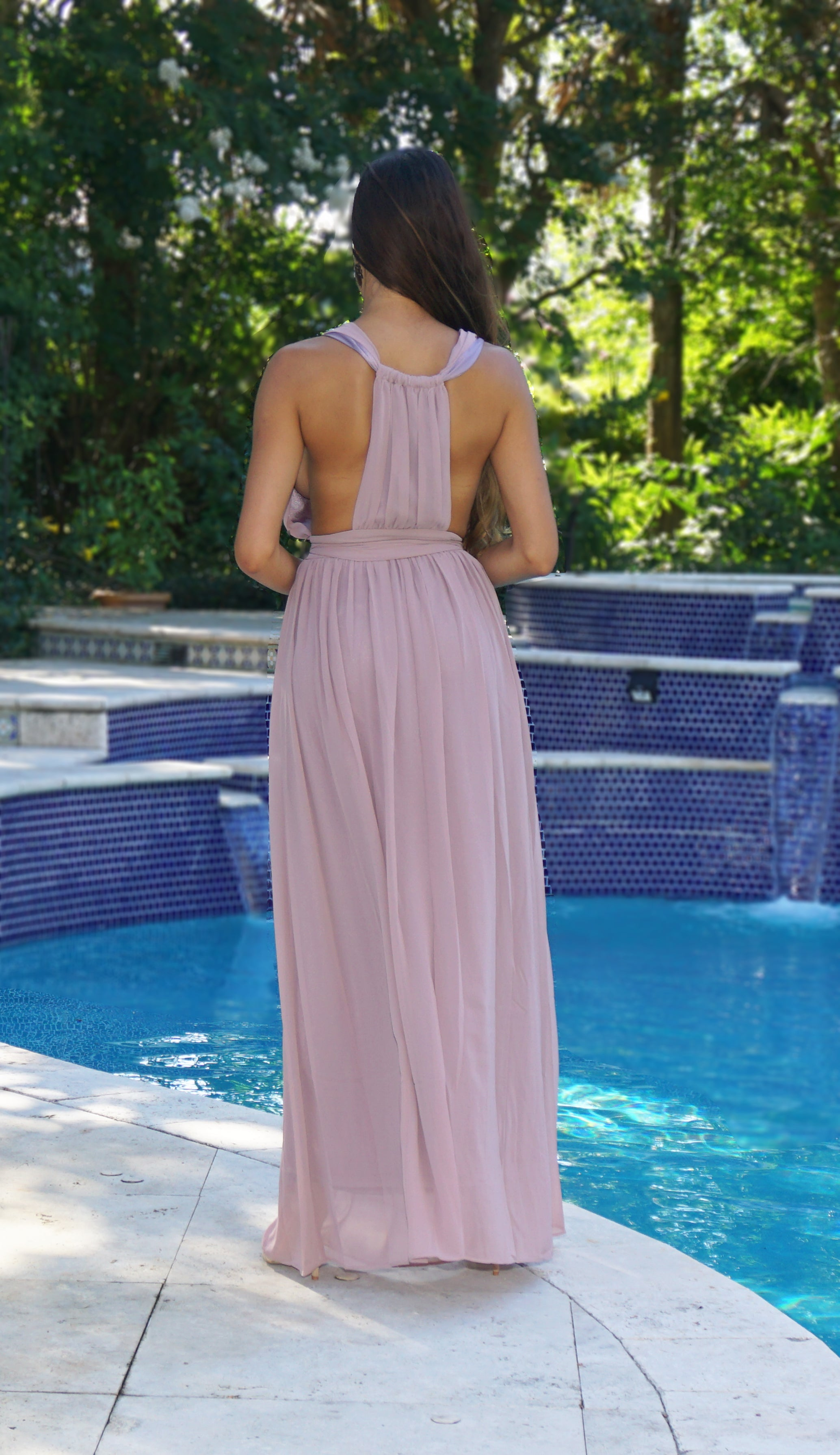 Deep Plunge Maxi Dress - Mauve