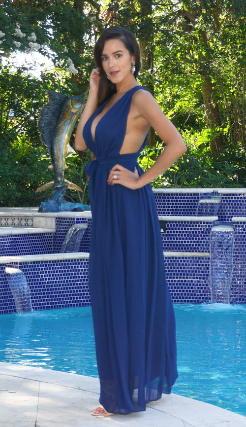Deep Plunge Maxi Dress - Navy Blue