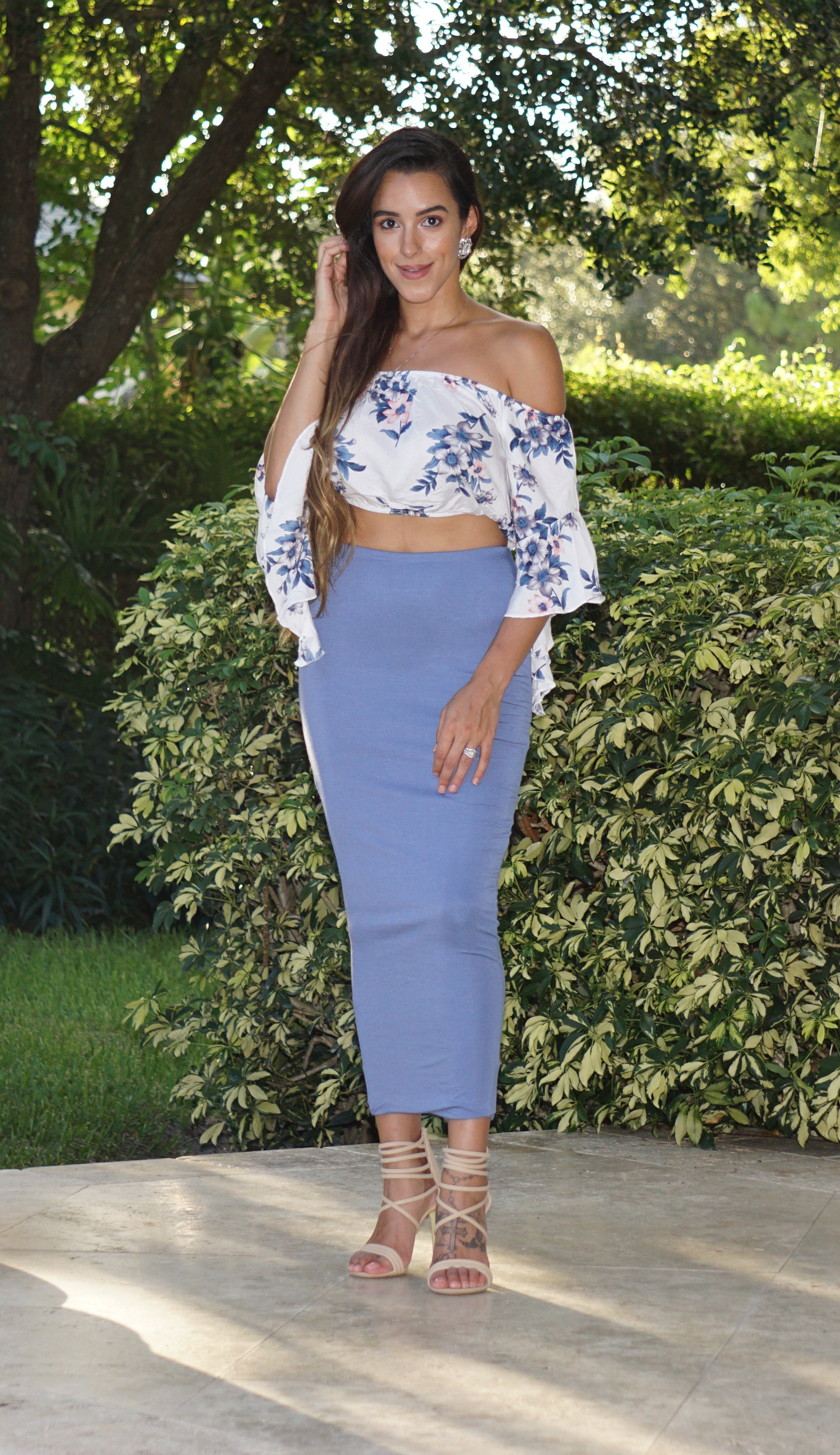 High Waisted Pencil Skirt - Light Blue