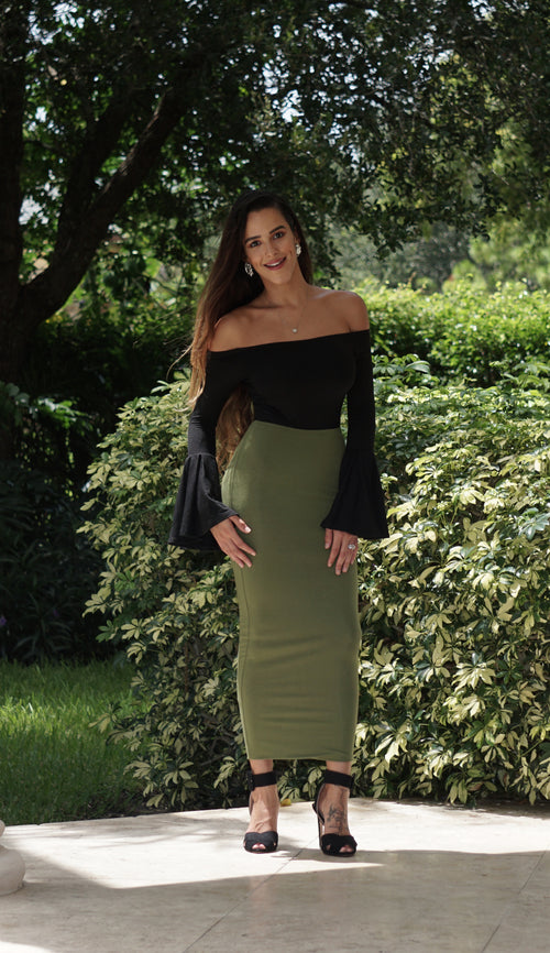 High Waisted Pencil Skirt - Olive