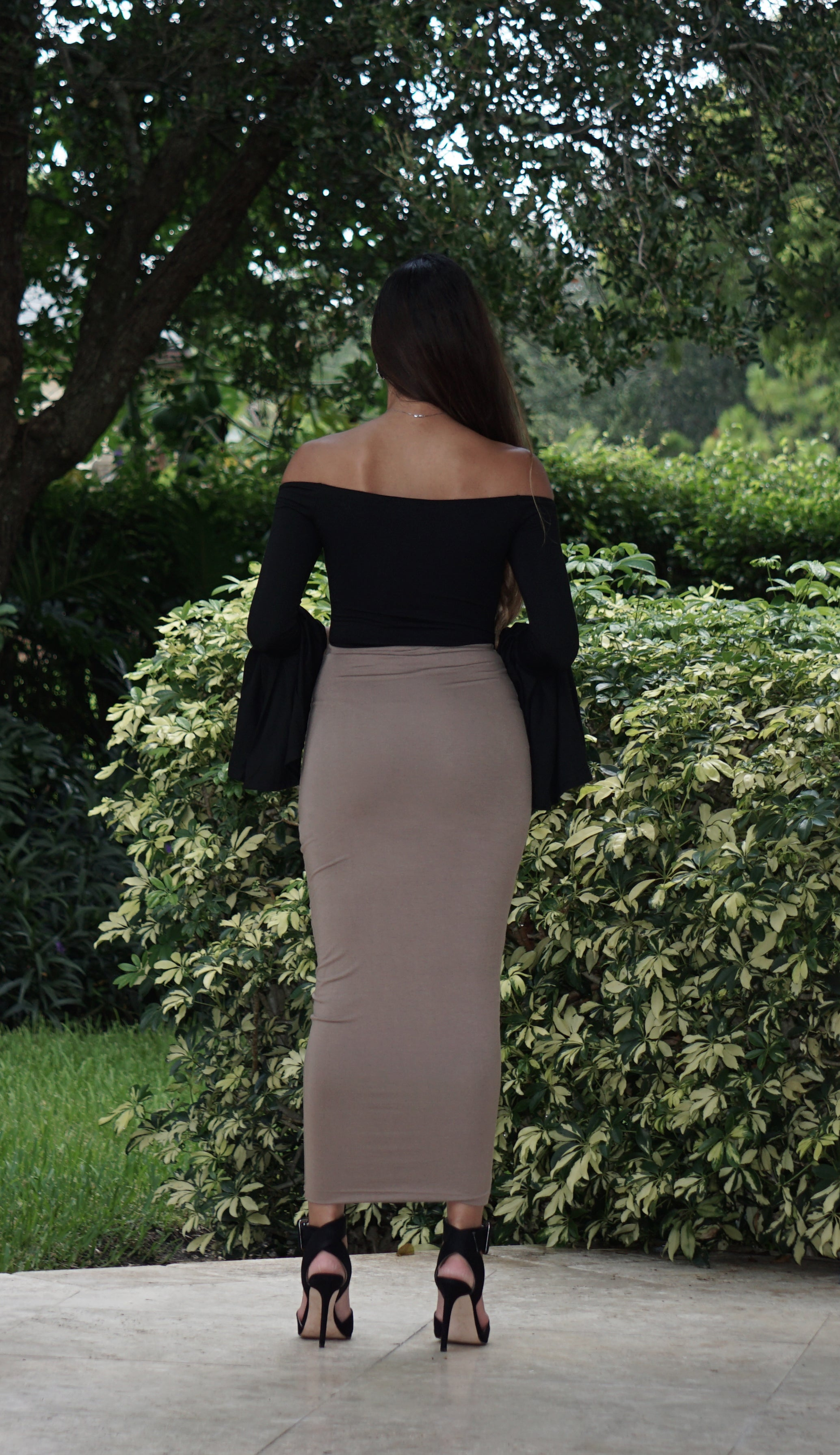 High Waisted Pencil Skirt - Taupe