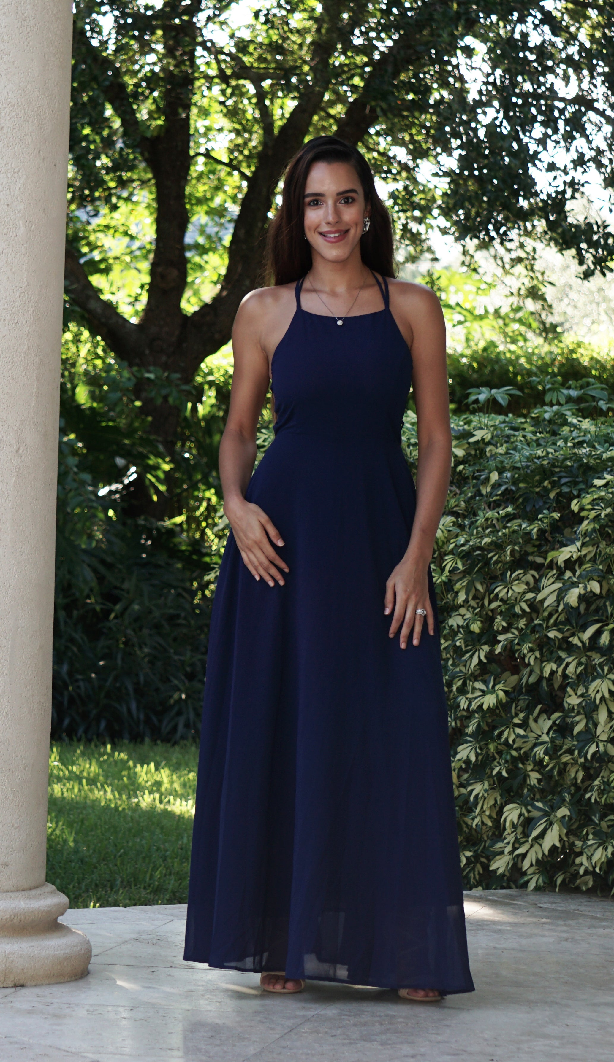 Navy Lace Up Maxi Dress