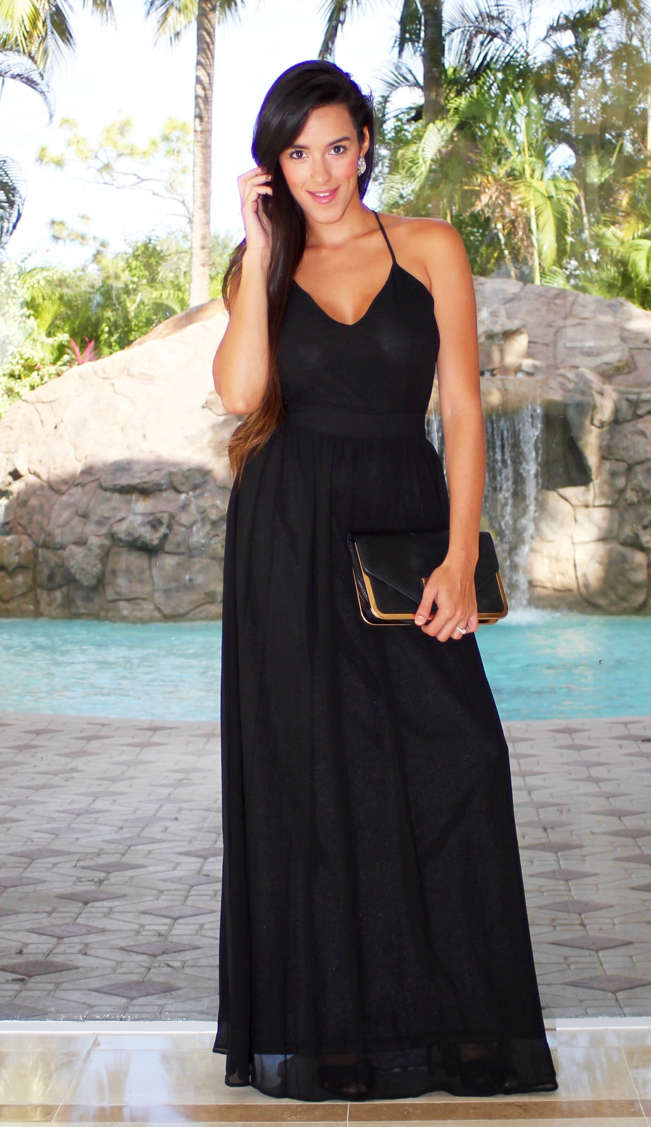 Open Back Maxi Dress - Black