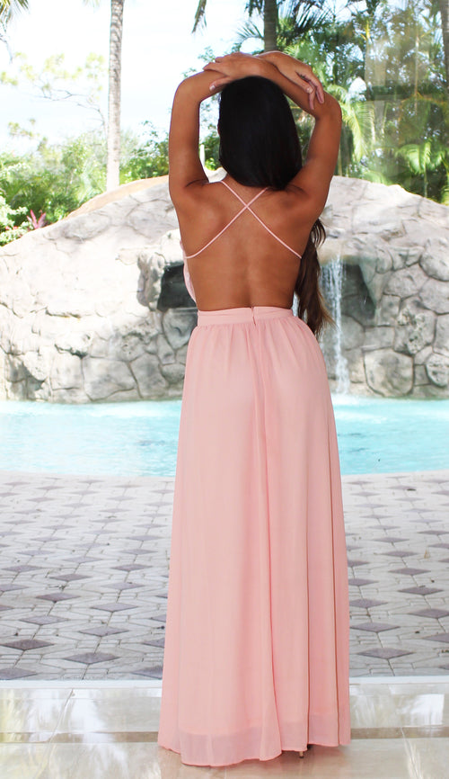 Open Back Maxi Dress - Blush
