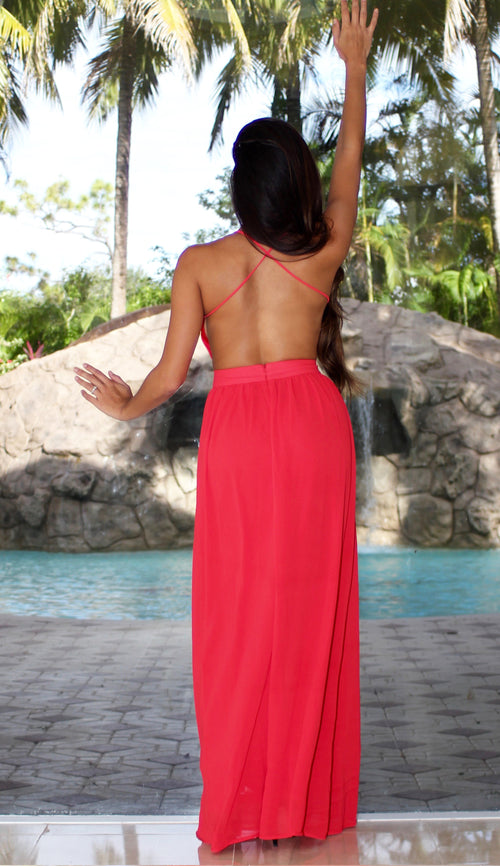Open Back Maxi Dress - Red