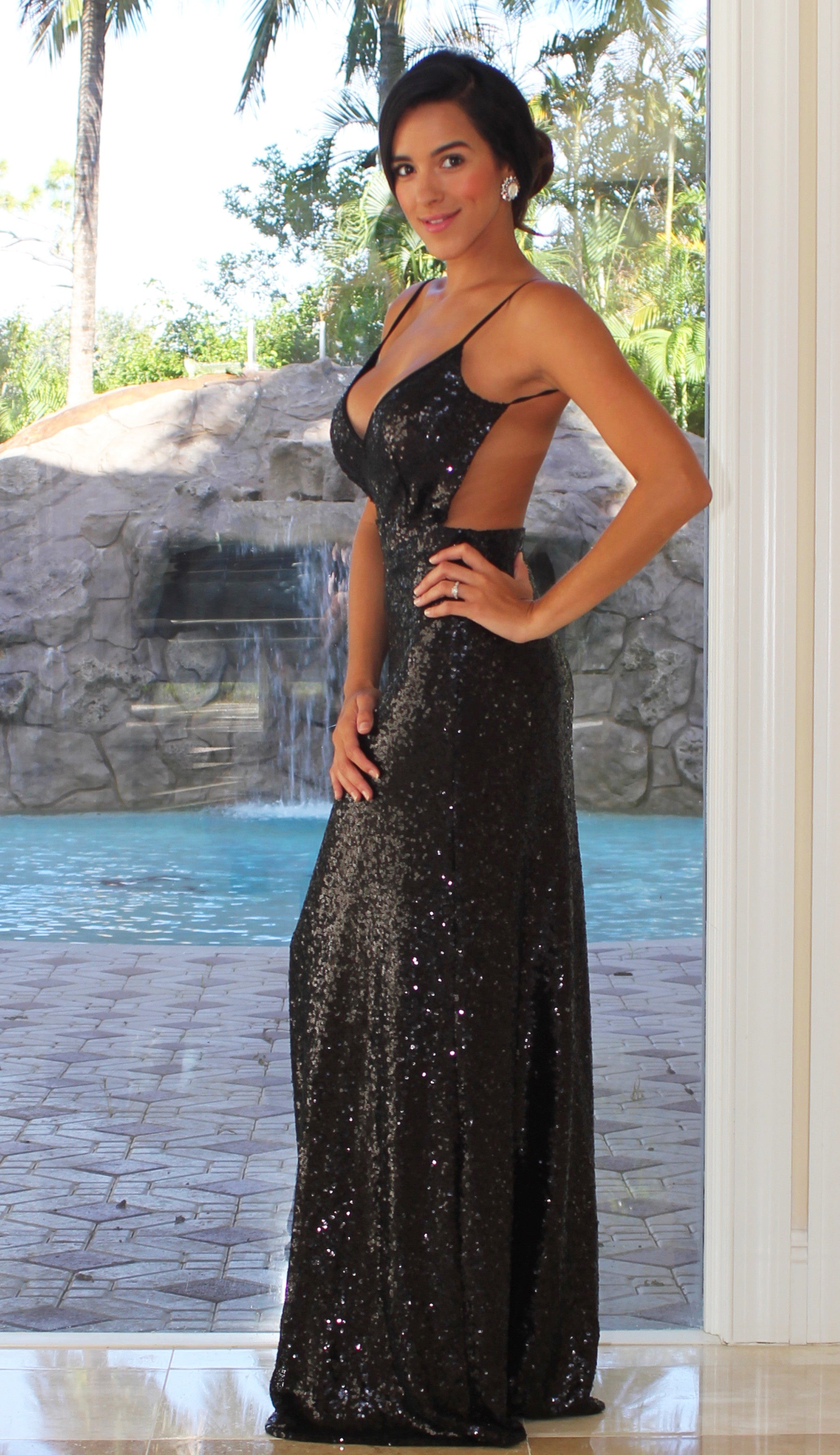 Sequin Open Back Maxi Dress - Black