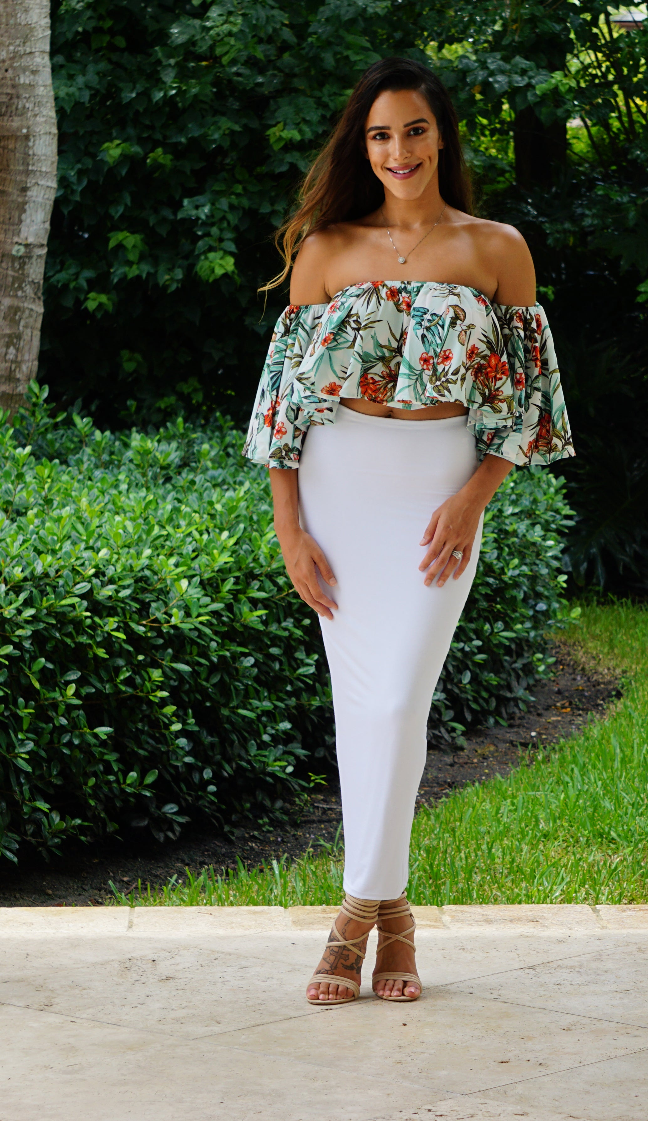 Off the Shoulder Crop Top - White/Tropical