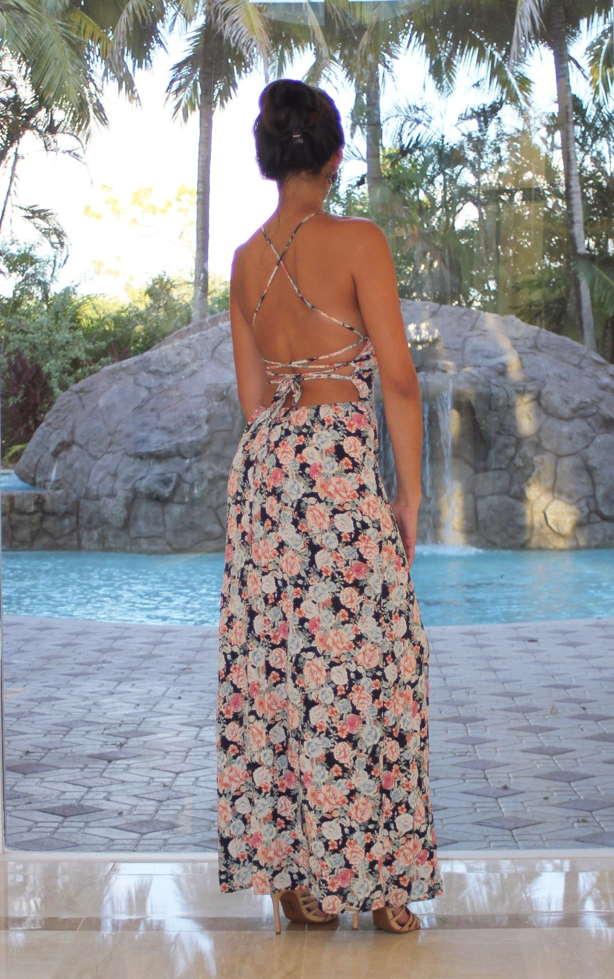 Rose Floral Maxi with Crisscross Back - Navy Blue