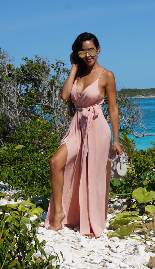 Sweet Center Slit Jumpsuit - Blush