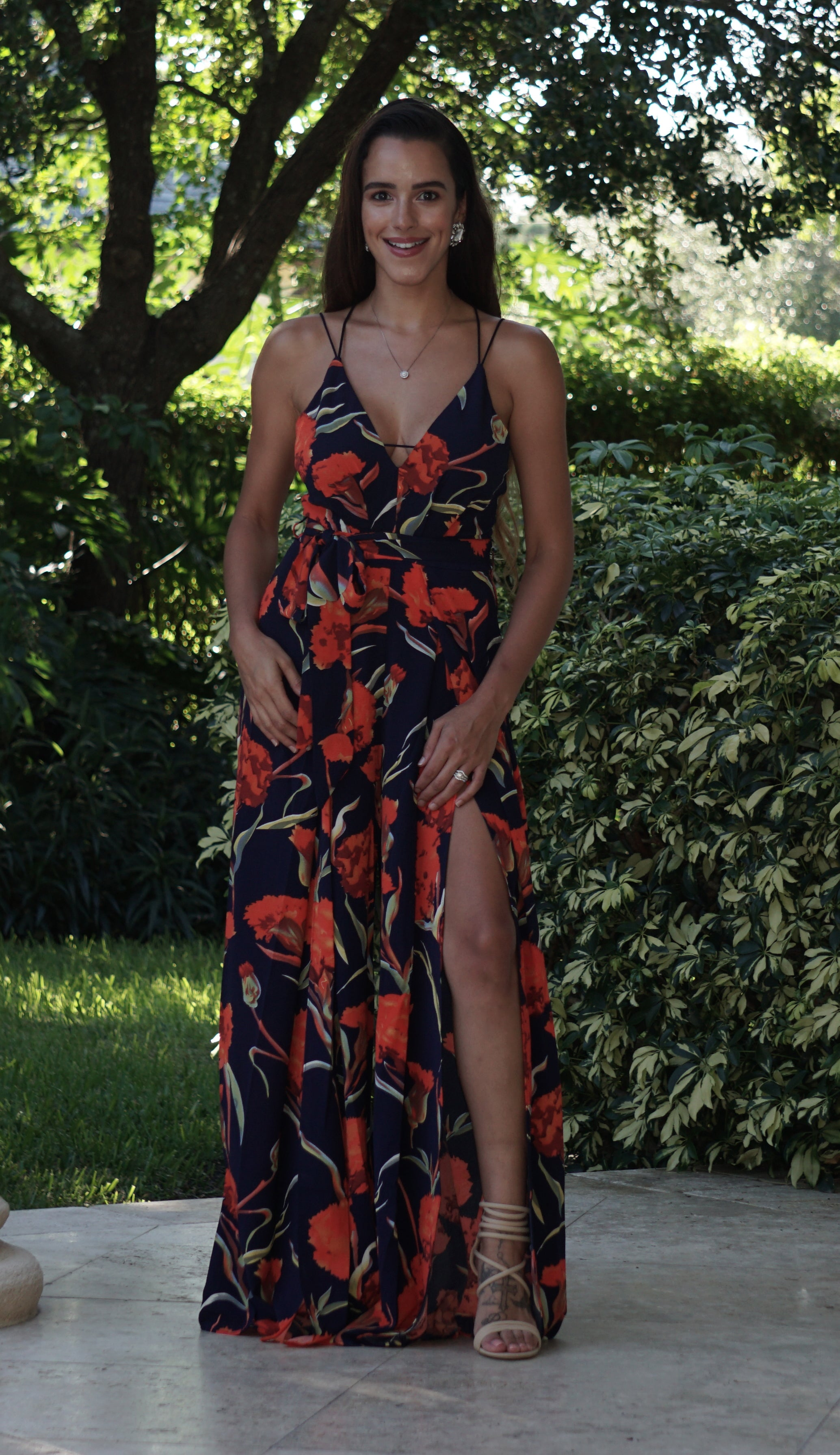 Sweet Center Slit Jumpsuit - Floral