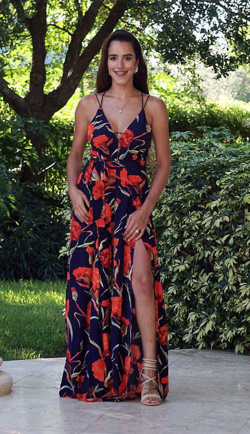 Sweet Center Slit Jumpsuit - Navy Roses