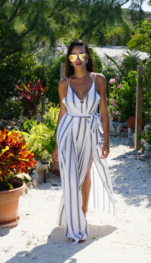 Sweet Center Slit Jumpsuit - Stripes