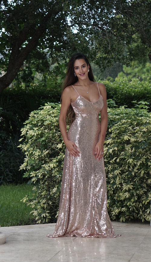 Sequin Open Back Maxi Dress - Rose Gold