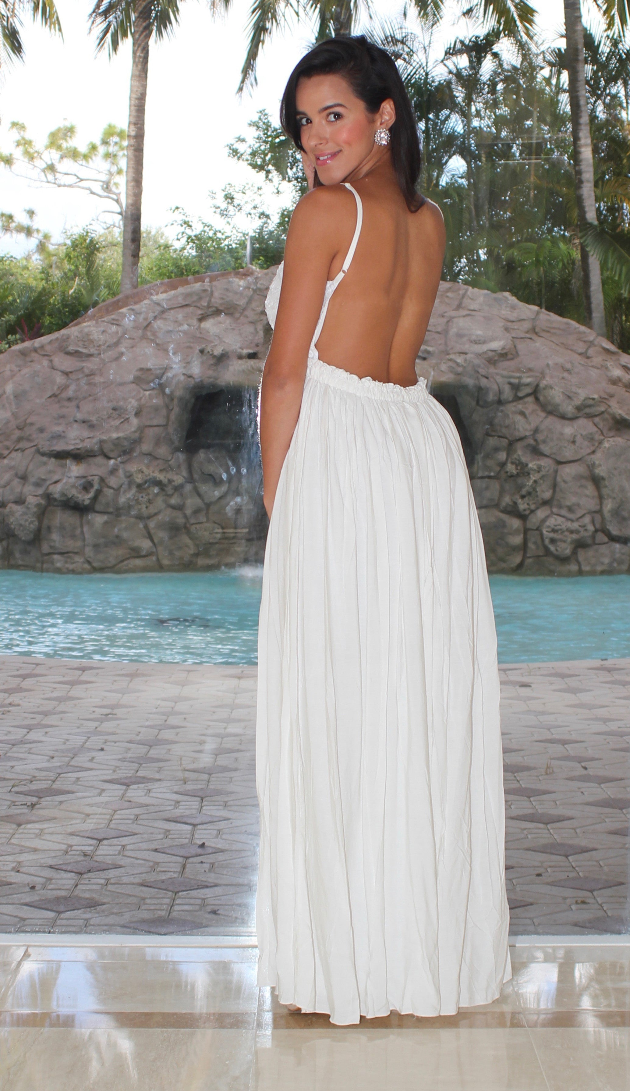 Textured Open Back Maxi Dress - White