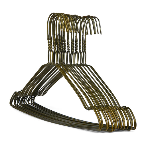 Notched Bronze Wire Metal Coat Hanger 13G