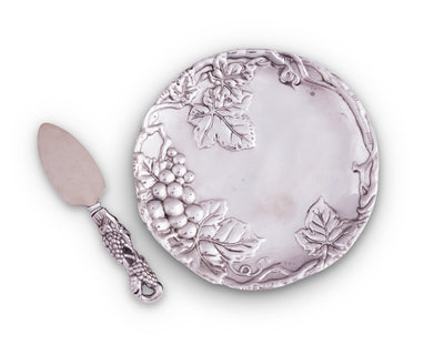 Arthur Court Metal Grape Plate with Server Classic Grape Pattern Detailly Sand Casted Aluminum with Artisan Quality Hand Polished - 8 inch Diameter