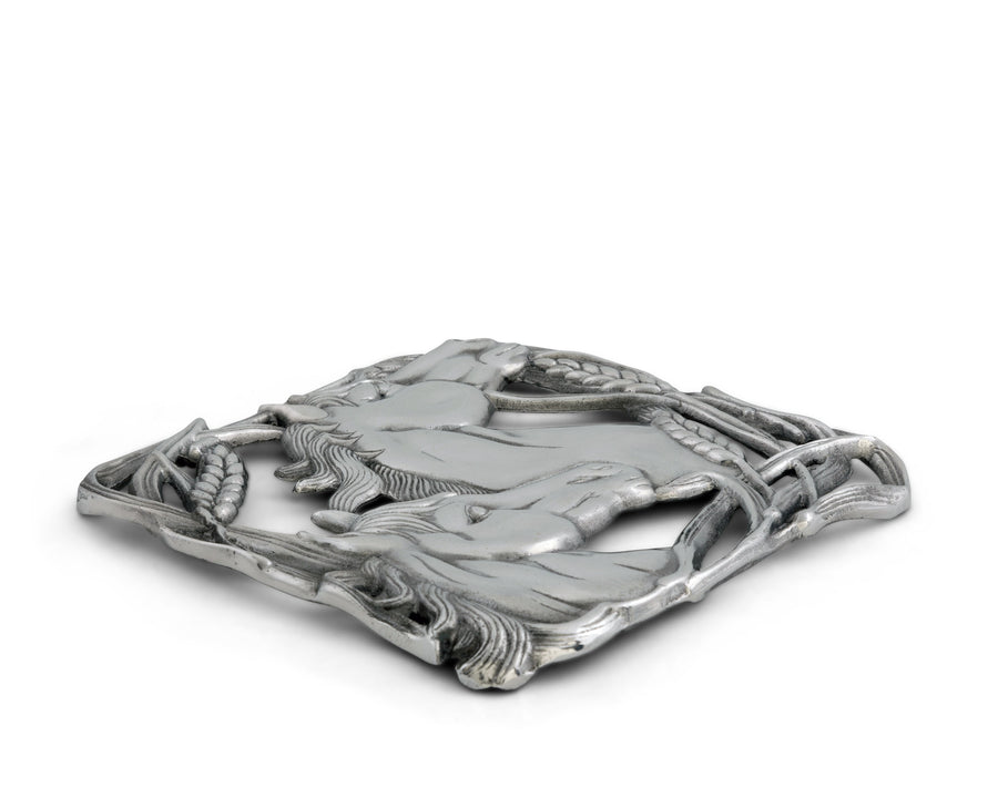 "Arthur Court Designs Aluminum 8"" Horse with Wheat Trivet"