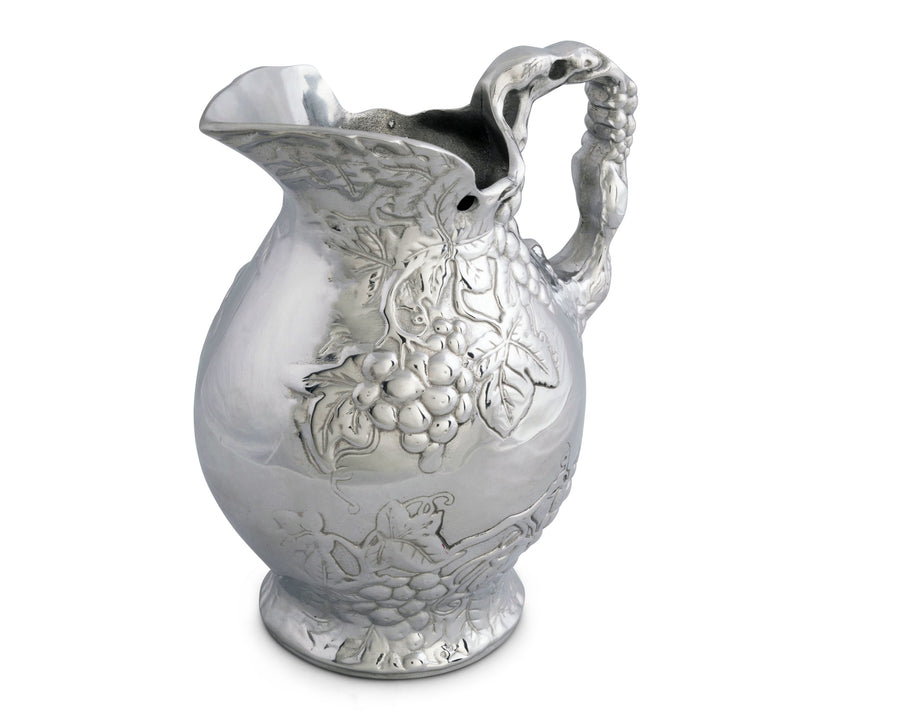 Arthur Court Metal Vineyard Pitcher Grape Pattern Sand Casted in Aluminum with Artisan Quality Hand Polished Design Tanish Free Water Jug for Hot / Cold Water, Ice Tea and Juice Beverage 10 inch Tall