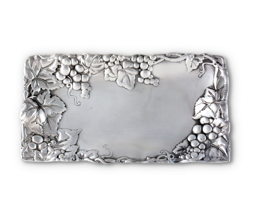 "Arthur Court Designs Grape Pattern Aluminum Bread Serving Tray, 6"" x 12"""
