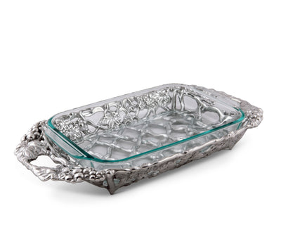 Arthur Court Metal Pyrex Glass Casserole Dish Holder Grape Pattern Sand Casted in Aluminum with Artisan Quality Hand Polished Design Tanish-Free 21 inch long, 3 quart capacity