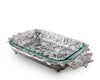 "Arthur Court Aluminum Butterfly Pattern Pyrex Glass Casserole Dish Holder 21"" long, holds 3 quarts"
