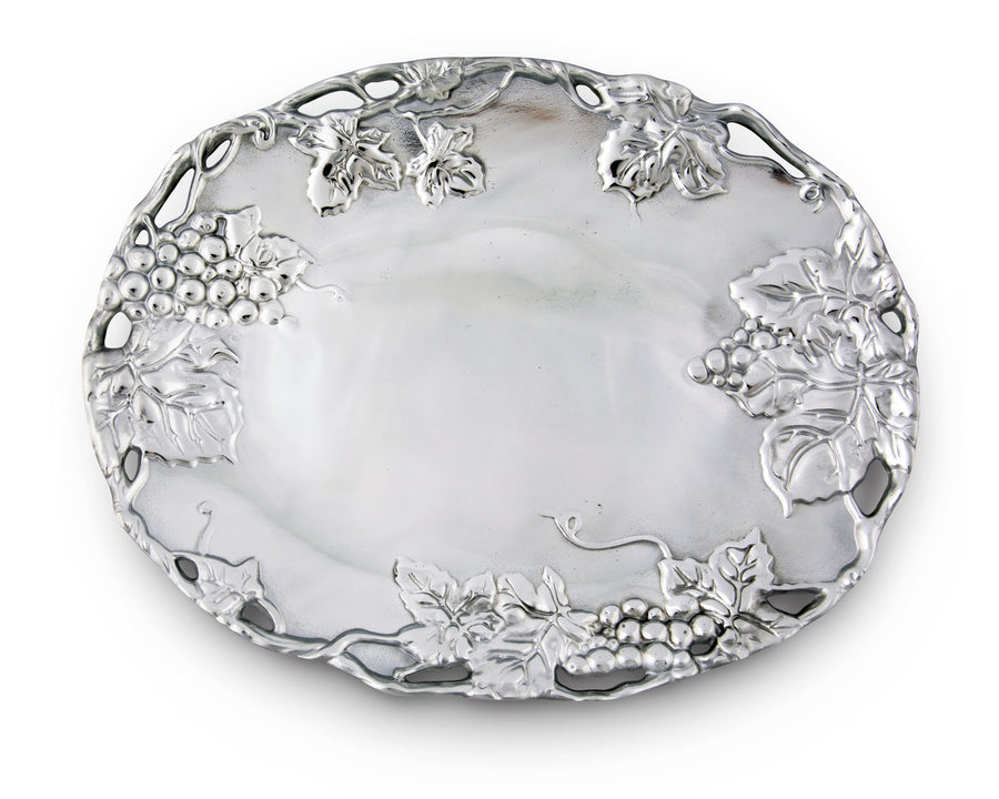 Arthur Court Designs Aluminum Grape Oval Platter Grape Pattern Sand Casted in Aluminum with Artisan Quality Hand Polished Designer Tanish-Free 18.5 inch x 14.5 inch