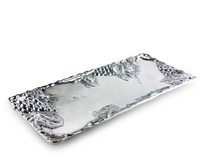 Arthur Court Metal Grapevine Oblong Serving Tray Grape Pattern Sand Casted in Aluminum with Artisan Quality Hand Polished Design Tanish-Free 19 inch x 8 inch