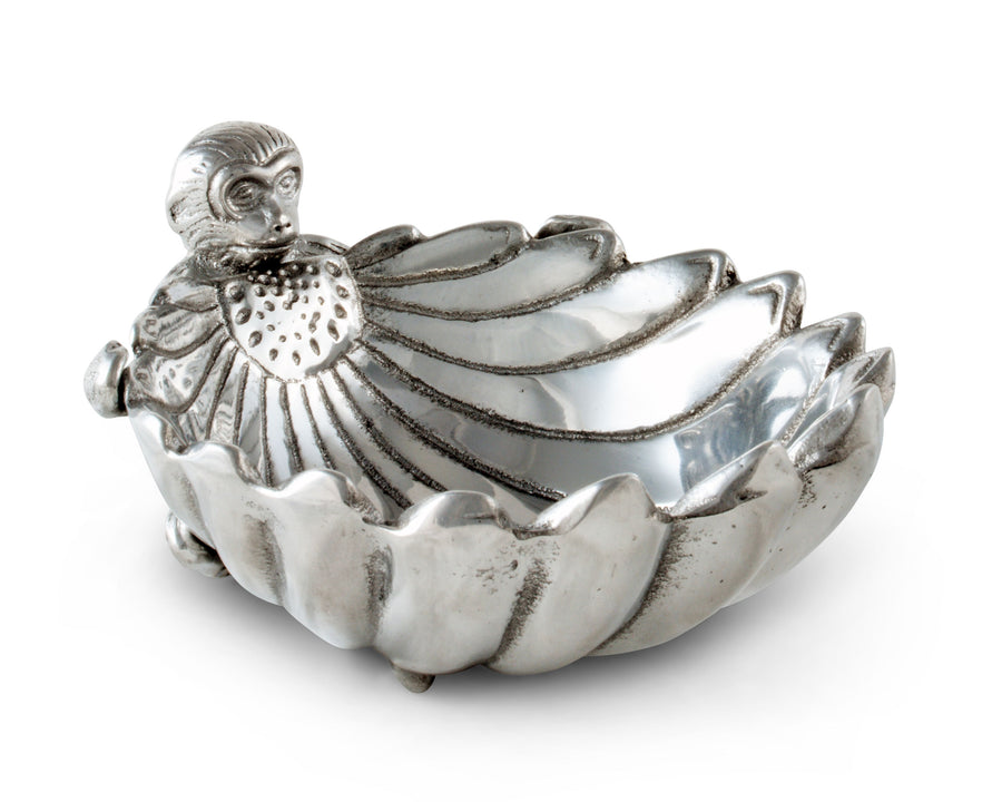 "Arthur Court Designs Aluminum Metal Monkey Nut / Candy / Snack Bowl Dish 6.5"" Diameter"