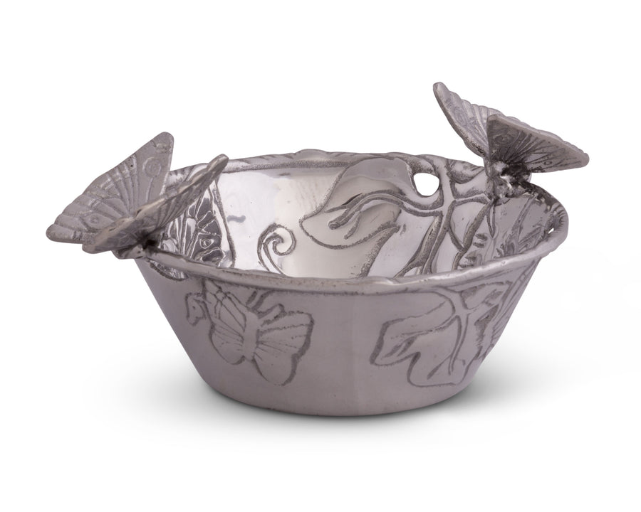Arthur Court Designs Aluminum Metal Butterfly Nut / Candy / Snack Bowl Dish 6 Inch Diameter