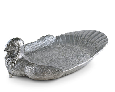 "Arthur Court Designs Aluminum Metal Thankgiving Turkey 24"" Large Heavy Serving Tray / Platter"