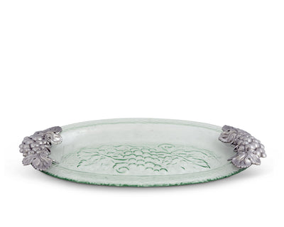 Arthur Court Clear Glass Food Tray Platter with Grape Handle in Sand Casted Aluminum with Artisan Quality Hand Polished Designer 21.5 inch x 11.5 inch