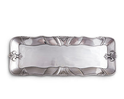 "Arthur Court Designs Aluminum Metal Fleur-De-Lis Oblong Food Serving Tray Centerpiece 18"" x 7"""