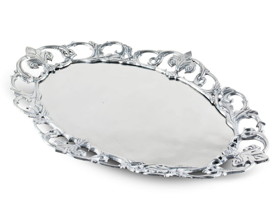 "Arthur Court Designs Aluminum Fleur-De-Lis Oval 20""x13.5"" Serving Tray"
