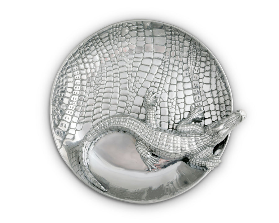 Arthur Court Designs Metal Chip and Dip Platter in Alligator Pattern Sand Casted in Aluminum with Artisan Quality Hand Polished Designer Tanish-Free 14 inch diameter