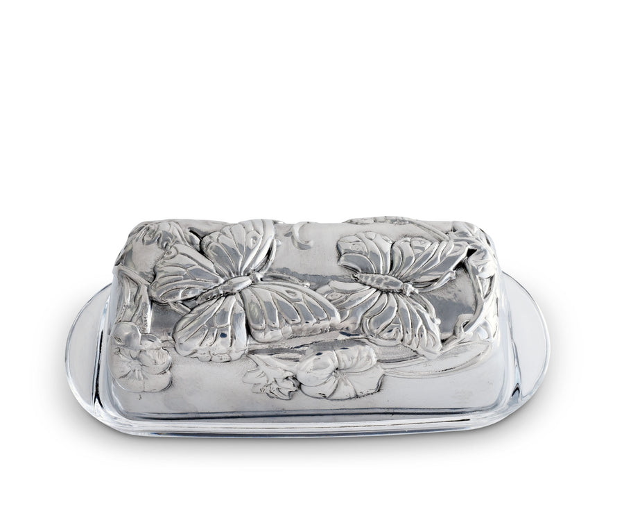 Arthur Court Designs Aluminum Butterfly Covered Butter Cream Cheese Dish with glass dish