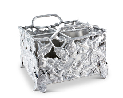 Arthur Court Designs Aluminum Metal Butterfly Silverware / Flatware / Utensil Caddy Holder 8 Inches x 8 Inches