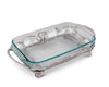 Arthur Court Metal Pyrex Glass Casserole Dish Holder Fleur-De-Lis Pattern Sand Casted in Aluminum with Artisan Quality Hand Polished Design Tanish-Free 17 inch long, 3 quart capacity